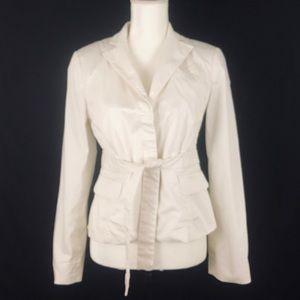 BCBG Maxazria Ivory Back- Pleated Blazer Jacket S